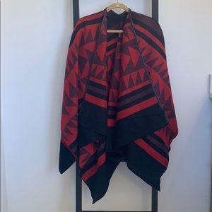 Kimono/poncho with leather detailing